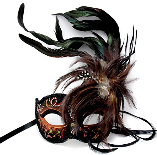 KBW Masquerade Brown Fancy Feather Costume Venetian Renaissance Mask