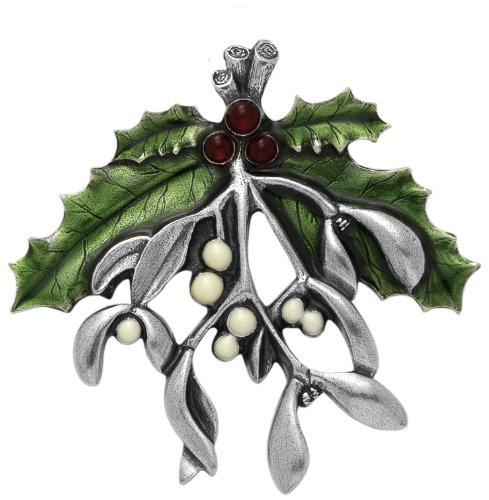 Mistletoe & Holly Brooch Pin