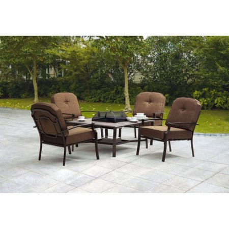 5-Piece Steel Frames Patio Conversation Set with Fire Pit, Seats 4 (100% Fabric/Polyester Cushion)