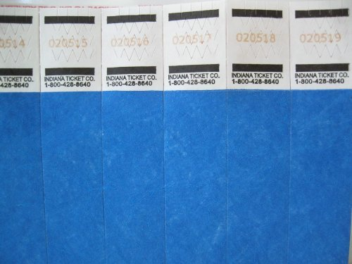 500 Solid Blue Consecutively Numbered Tyvek Wristbands 3/4