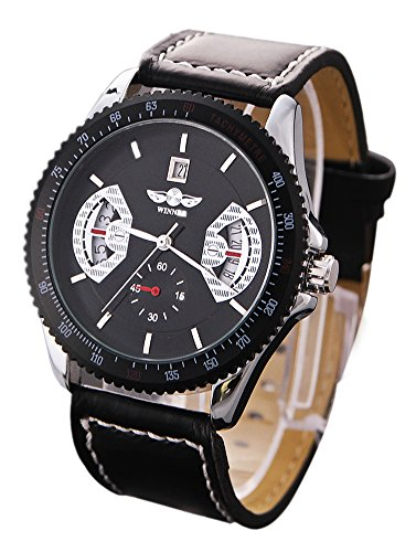 Shot-In Fashion Man Handsome Stainless Steel Precision Gear Calendar Machinery Watch (Leather+Black)