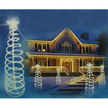 Sienna 5 Pure White LED Lighted Outdoor Spiral Christmas Tree Yard Art Decoration
