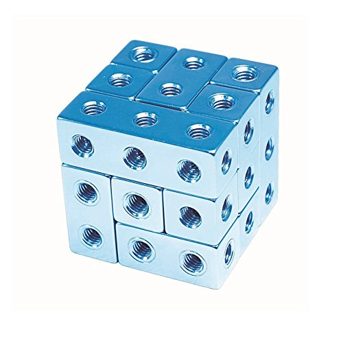 SainSmart Jr. Metal Art Cube Serial Cast Metal Block Sparkle Color Unique Double-Headed Screws Brainteaser Puzzle Games (Blue)