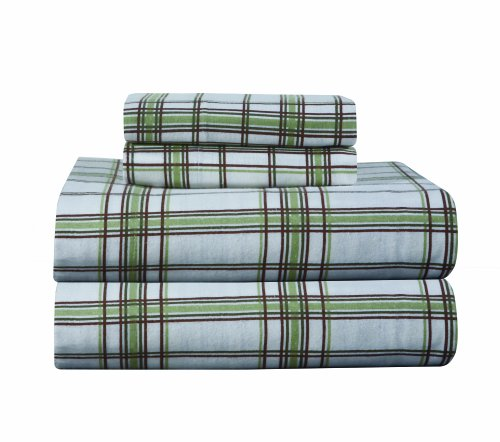 Pointehaven Heavy Weight Printed Flannel Full Sheet Set, Plaid, Sage front-1055988