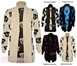 NEW WOMENS LONGSLEEVE SKULL PRINT OPEN KNITTED BOYFRIEND CARDIGAN PLUS SIZE16-26