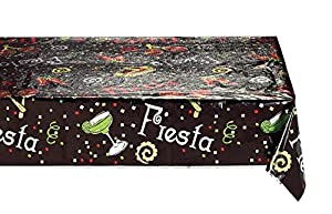 Creative Converting Metallic Table Cover, 54 by 108-Inch, Fiesta