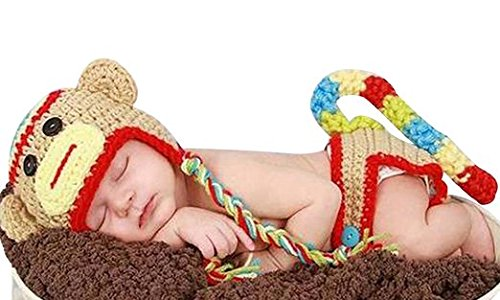 Monkeybrother Cute and Favorable Costume Photo Prop Monkey Hat Cape Beanie Diaper Cover Baby Girl Boy Crochet Sock