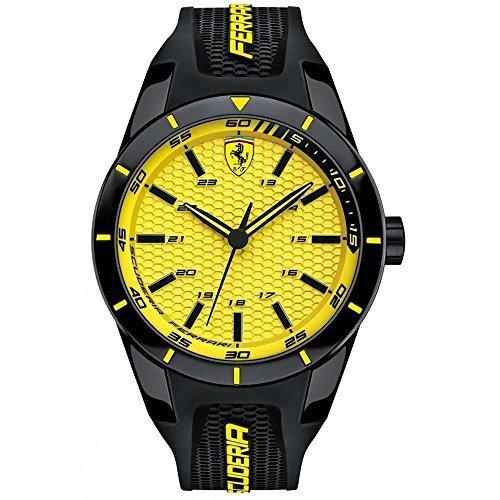 Ferrari 0830246 44.1mm Plastic Case Black Silicone Mineral Men's Watch by Ferrari