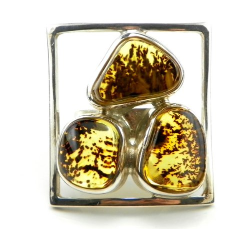 Silver RING with natural BALTIC AMBER - size P - Adjustable