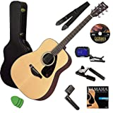 TORRIX FG700S Acoustic Guitar Bundle with Gearlux Hard Case, Austin Bazaar Instructional DVD, Capo, Strap, Strings, Winder, and Picks