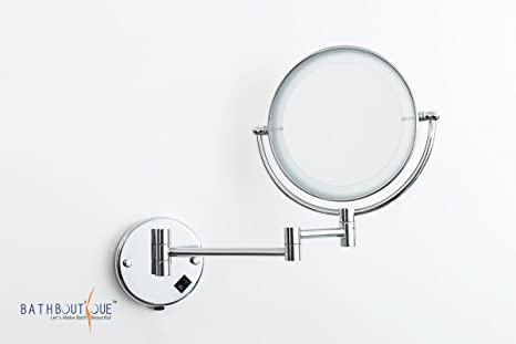 buy bath boutique39s shaving makeup mirror wall mount 3x magnify with led  light 8 inch dia frame online at
