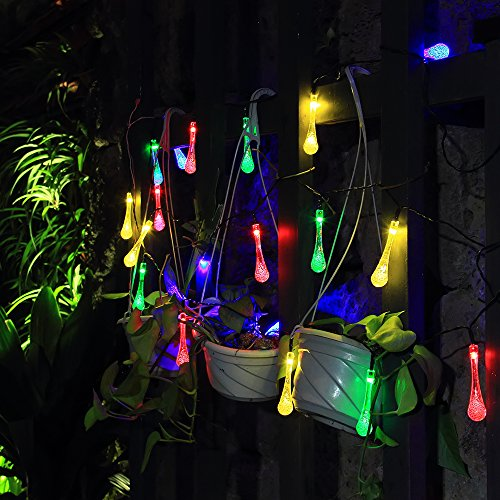 innoo tech solar fairy lights garden string with 20 rgb led icicle