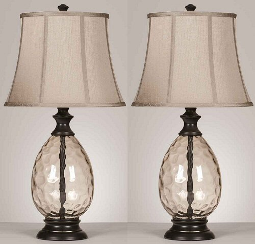 Ashley Ashley L440234 Desk Lamp Glass Base with Bronze Accents, Set of 2(Pack of 2)