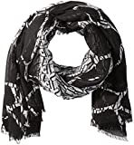 Armani Jeans Women's Logo Printed Mix Polyester Light Weight Scarf, Black, One Size