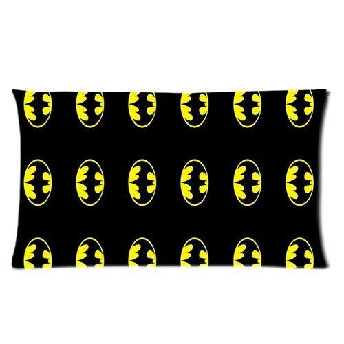 Generic Custom Superhero Batman Cute Yellow Logo Black Lovely Printed Zippered Pillowcase Cushion Cover 20*36(Twin Sides) front-225703