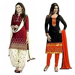 Sky Global Women's Printed Unstitched Regular Wear Salwar Suit Dress Material (Combo pack of 2)(SKY_501_Red)(SKY_502_Black)