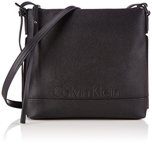Calvin Klein Jeans MELISSA FLAT CROSSOVER, Borsa a tracolla donna, Nero (Nero (Black 001)), 14x7x23 cm (B x H x T)