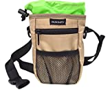 Vaun Duffy Dog Treat Training Bag with 3 Options to Wear - Clip, Belt or Over the Shoulder Strap - Includes Waste Bag Dispenser, Large Front Pocket and Mesh Pouch for Ball or Toys