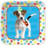 Creative Converting Paw-Ty Time Square Dessert Plates, 8-Count