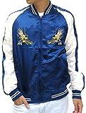 (マルカワジーンズパワージーンズバリュー) Marukawa JEANS POWER JEANS VALUE スカジャン メンズ 刺繍 龍 ブルゾン アウター スーベニア サテン 3color M ネイビー
