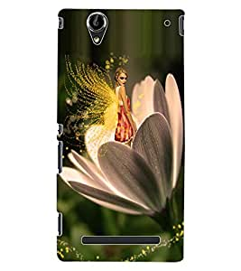 ColourCraft Angel on Flower Design Back Case Cover for SONY XPERIA T2 ULTRA DUAL D5322