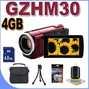 JVC GZ-HM30 HD Everio Camcorder (Red) Accessory Saver 4GB Bundle