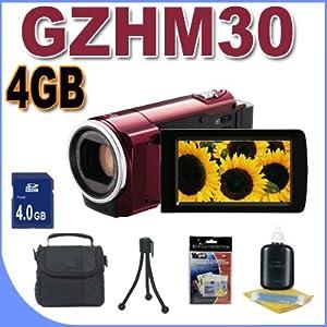 JVC GZ-HM30 HD Everio Camcorder (Red) Accessory Saver 4GB Bundle