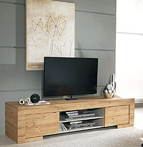 MOBILE PORTA TV CON 2 ANTE IN LEGNO ROVERE MIELE