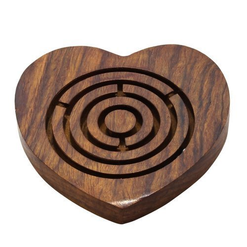 Wooden Games Puzzles Labyrinth Maze Heart Shape Brain Teaser Puzzle Gifts for Her.