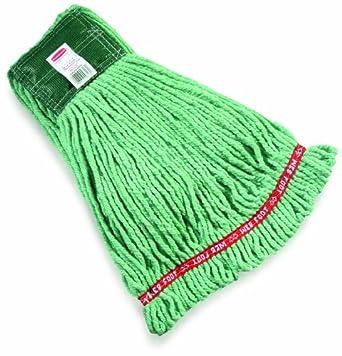 """Rubbermaid Web Foot Shrinkless Wet Mop, 5"""" Headband, Green"""