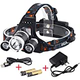 InnoGear® 5000 Lumen Bright Headlight Light Headlamp Flashlight Torch Head Lamp 3 CREE XM-L XML T6 LED with Rechargeable Batteries and Wall Charger for Hiking Camping Outdoor Riding Night Fishing Hunting Running Night Riding