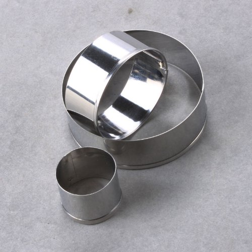 Whatwears 3X Stainless Steel Round Cookie Mould Circle Fondant Cake Mold Cutter