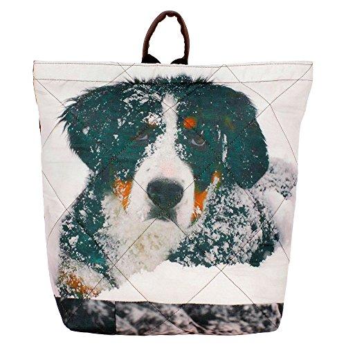 "Digital Graphic neve Dog Borsa - Adorabile stampa all-over - Poliestere Dupion Faux Seta - 12 ""x 12"" x 4 """