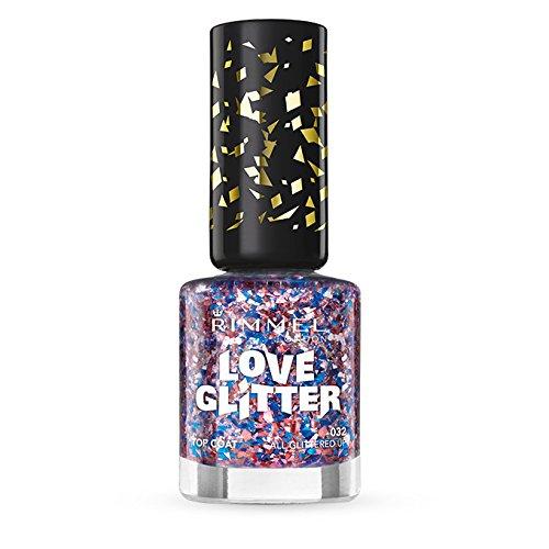Rimmel London Love Nail Varnish Shade numero 032, tutte con Glitter, colore: rosso/rosa e brillantini, colore: blu