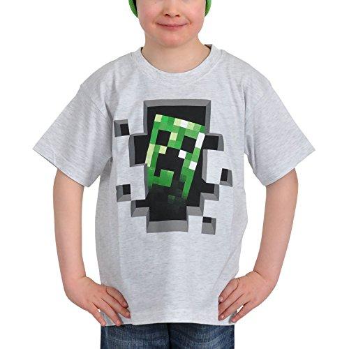 Minecraft - T-shir per bambini con motivo del Creeper Inside - tratta dal videogame Open World - Licenza ufficiale - Cotone - Bianco - 122/128