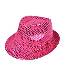 Colorful Sequined Fedora Hat (Pink)