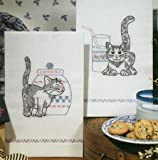 Tobin Stamped Kitchen Towels for Embroidery, Kittens