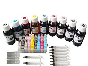 9 Pack Refillable ink cartridge EPSON 96 T0961-T0969 + 9x4oz Nano premium dye refill ink kit + 9 syringes for EPSON Stylus Photo R2880. These cartridge have Auto-reset Chip (ARC)!