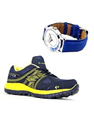 Elligator Rapid 1504 Stylish Rblue & Yellow Sport Shoes With Lotto Watch For Men's