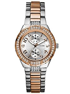 GUESS Women's U13586L2 Status In-the-Round Rose Gold-Tone and Steel Watch