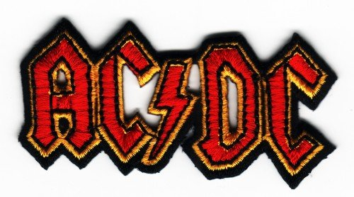 Sew Iron on-on Patch ricamato AC DC-DC/AC, con spilla, motivo: Rock Music