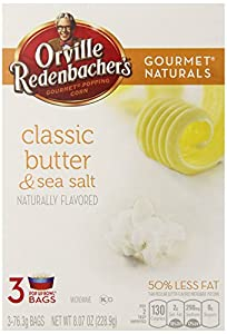 Orville Redenbacher's Gourmet Naturals Popcorn, Classic Butter and Sea Salt, 76.3g Bags, 3 Count