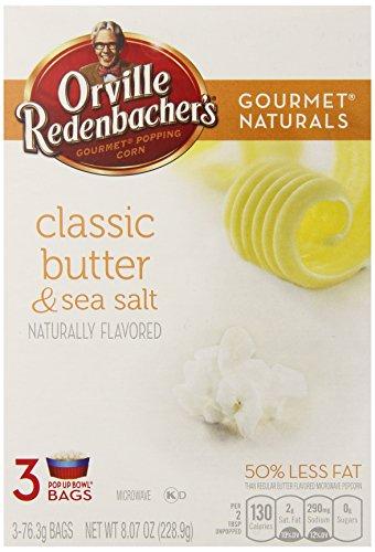 Orville Redenbacher'S Gourmet Naturals Popcorn, Classic Butter And Sea Salt, 76.3G Bags, 3 Count