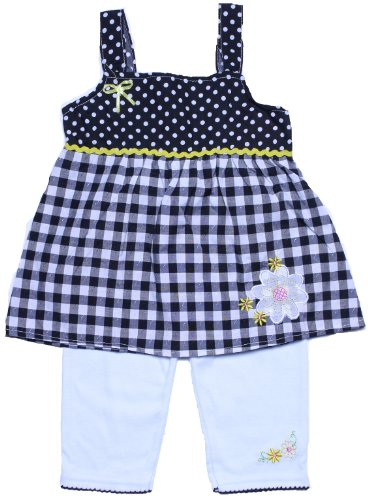 Coney Island Toddler Girls Black Polka Dot & Plaid Top & Capri Leggings2T back-421375