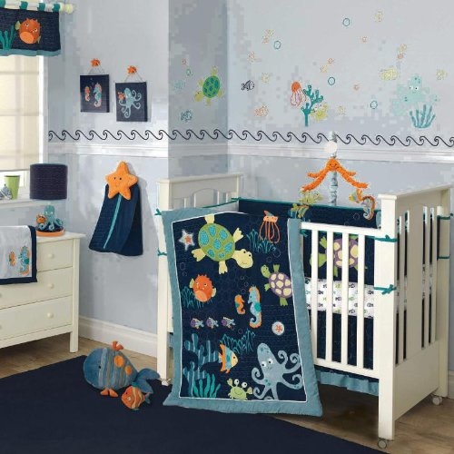 Lambs and Ivy Bubbles and Squirt 5 Piece Bedding Set
