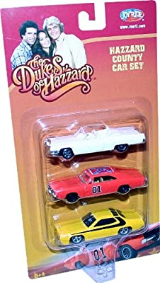 "The Duke of Hazzard ""HAZZARD COUNTRY CAR SET"" 3-Pack including The General Lee 1969 Dodge Charger, Boss Hogg's 1972 Cadillac & Daisy's 1972 Plymouth Roadrunner"