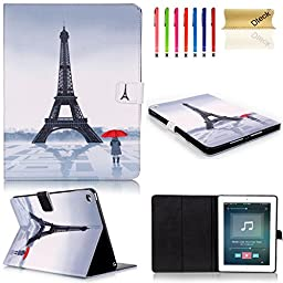 iPad 6 Case, Dteck(TM) Lovely Cute Sweet Design PU Leather [Card/Money Slots] Flip Stand Case with Auto Sleep/Wake Function Smart Cover for Apple iPad Air 2 (04 Eiffel Tower)