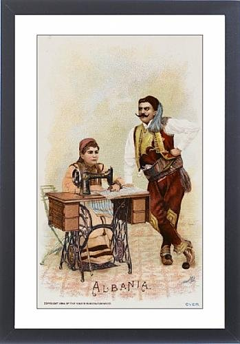 Framed Print Of Albanians Using A Singer Sewing Machine