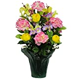 Pink Peony and Yellow Ranunculus Weighted Potted Silk Arrangement by Sympathy Silks® (PT1162) Sale