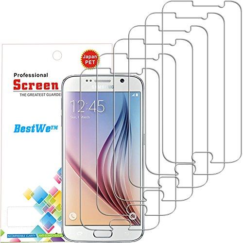 Samsung Galaxy S6 Protector de Pantalla, Bestwe 6 Piezas Ultra Transparente High Definition (HD) Película Protectora para Samsung Galaxy S6 (Samsung Galaxy S6)